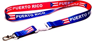 Puerto Rico Flag Reversible Lanyard Keychain with Quick Release Snap Buckle and Metal Clasp - ID Lanyard for Keys, Badges, USB - ID Holder Keychain for Women, Men, Kids (Blue or Red, 1 Lanyard)