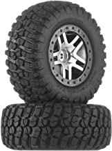 Traxxas 6873 BF Goodrich Mud Terrain T/A KM2 Tires Pre-Glued on Satin Chrome, Black Beadlock-Style Wheels (pair)