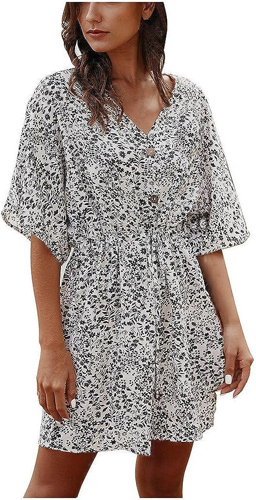 ZSBAYU Womens Casual Floral Print Half Sleeve V-Neck Button Beach Sundress Mini Dress Short Dress