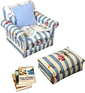 Inusitus DIY Dollhouse Blue Sofa Chair Set | Miniature Furniture | Dolls House Kits | Requires Assembly | 1/18 Scale (Sofa-Chair-Blue)