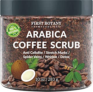 100% Natural Arabica Coffee Scrub with Organic Coffee, Coconut and Shea Butter - Best Acne, Anti Cellulite and Stretch Mark treatment, Spider Vein Therapy for Varicose Veins & Eczema 10 oz