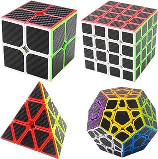 Puzzle Cubes Megaminx + Pyraminx + 2x2x2 + 4x4x4 4 Pack Coolzon® Cubo Magico con Pegatina de Fibra de Carbono Velocidad