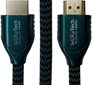 WiRoTech HDMI Cable 4K Ultra HD with Braided Cable, HDMI 2.0 18Gbps, Supports 4K 60Hz, Chroma 4 4 4, Dolby Vision, HDR10, ARC, HDCP2.2 (15 Feet, Green)