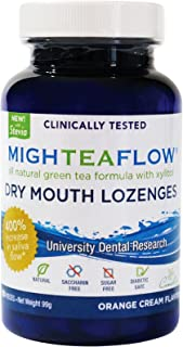 MighTeaFlow Natural Dry Mouth Lozenge w/ Xylitol, Clinically Tested, Developed by University Dental Professionals, Orange Cream Flavor, 90 Count