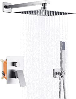 Keonjinn Shower System, Faucet Brushed Nickel Set For Bathroom, 10-inch Rain Mixer Shower Head With Pressure Balance Valve(Contain Shower Faucet Rough-In Valve Body and Trim)