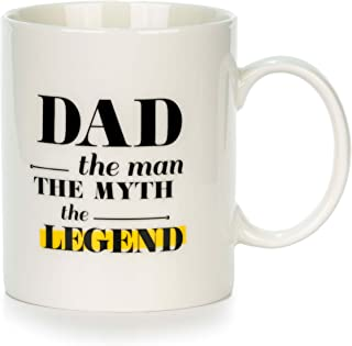 Dad The Man The Myth The Legend Ceramic Mug | Premium Coffee mug Gift Set - Dad coffee mugs, Perfect Birthday and Christmas Gifts for Dads Grandpa and Fathers to be, Funny Mugs for Men from Daughter