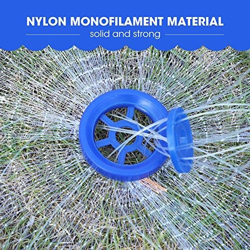 Cocoarm Fischernetz Hand Überwurf Angelnetz aus Nylon Angeln Net Tragbares Erweiterbar Nylon Mesh Net mit 8m Hand String Schwere Ring 3 Durchmesser (2.4)