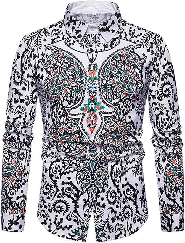 YD-zx Men's Spring Sweat and Breathable Ethnic 3D Printing Lapel White Button Down Shirt Slim Fit Cotton Shirt Long Sleeve
