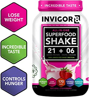 INVIGOR8 Superfood Protein Shake Gluten-Free and Non GMO Meal Replacement Shake with Whey, Probiotics and Omega 3 (645 Grams) (Natural Strawberry)…