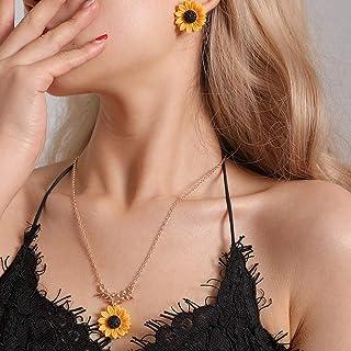 Lanlan Sistema de la joyería del Pendiente del Collar del diseño del Girasol de la Moda 2pcs / Set
