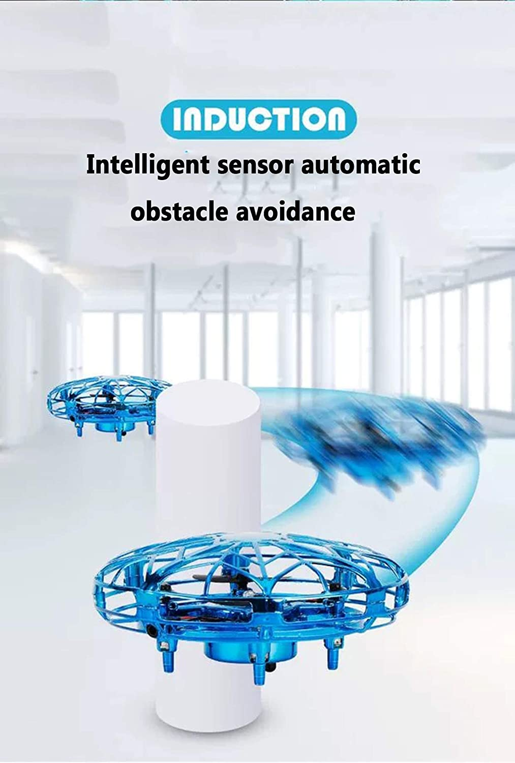 Easy Play Indoor UFO Drone for Boys Girls. Mini Drone for Kids or Adults,Hand Operated Drones Motion Sensor Small Flying Ball Toy for Kids Gift,LED Lights
