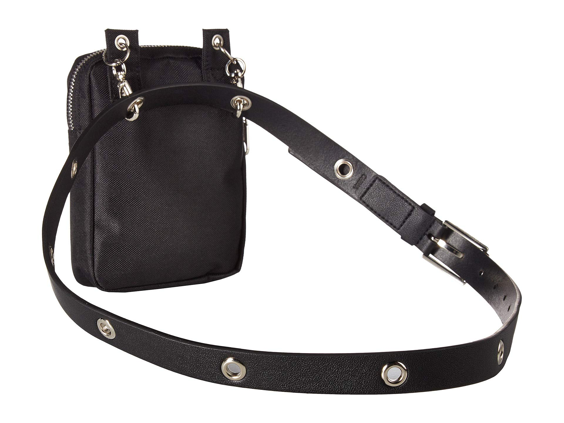 nylon Calvin Bag Klein Nickel Belt polished Smooth black Leather Black white FFw6tHq
