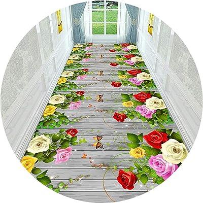 Hallway Runner Rug Long Runner Rugs Corridor Carpet Rose Pattern Hotel Stairs Bedroom Bedside Non-Slip Mat (Color : A, Size : 47.2x157.5in)