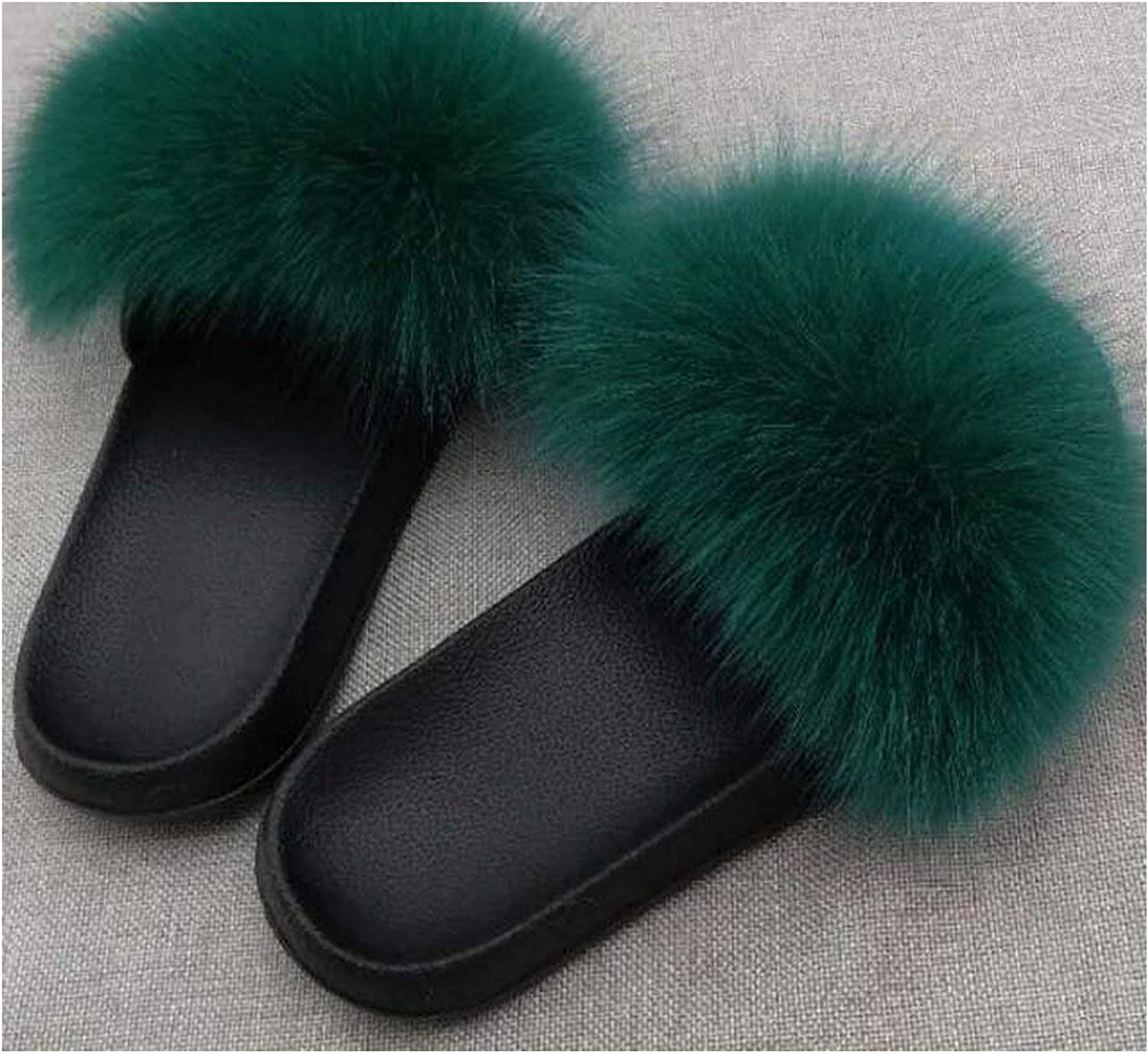 Leifun Fox Hair Fluffy Slippers Fur Slipper Fox Fur Slides Fuzzy Slides Women shoes