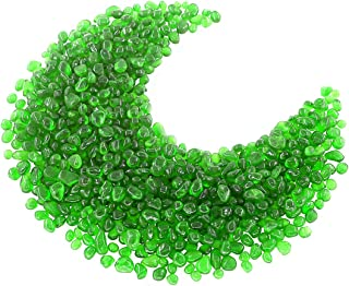 Hilitchi Glass Stones Non-Toxic Beautiful Smooth Vibrant Colors Vase Filler, Table Scatter, Aquarium Fillers, Gems Displaying, Gem Glass Confetti [Green Aprox. 1lb(455g)/Bag]