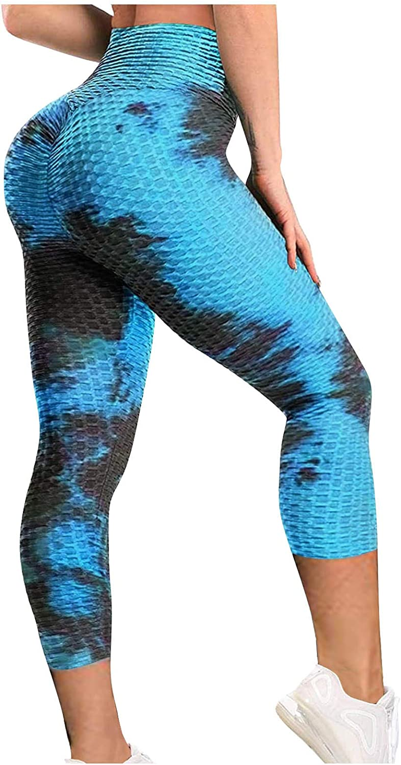 Forwelly Yoga Pant for Women Strethy High Waist Plus Size Pant Fashion Tie Dye Print Ankle Length Workout Leggings