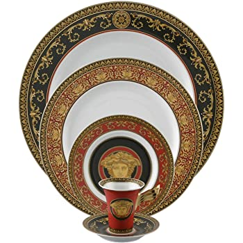 Amazon.com | Versace by Rosenthal Medusa Red 5-Piece Place ...