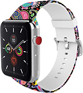 BMBEAR Sports Band Floral Bands Compatible with Apple Watch Band 42mm 44mm Soft Silicone Fadeless Pattern Printed Replacement Sport Band for iWacth Series 6 5 4 3 2 1 Black Jellyfish