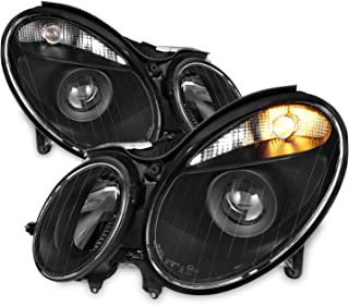For W211 Benz E-Class Halogen Type Black Projector Headlights Left + Right Side Replacement Pair Set
