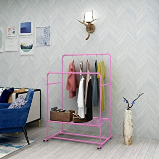 Clothing Garment Rack Metal Heavy Duty Double Rail Clothes Rack Organizer 2-Tier Storage Shelf for Boxes Shoes Boots Commercial Grade Multi-Purpose Entryway Shelving Unit for Home Office Bedroom Pink