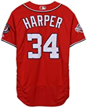 Bryce Harper Washington Nationals Game-Used #34 Red Jersey with All-Star Game Patch vs. Atlanta Braves on September 15, 2018 - Fanatics Authentic Certified