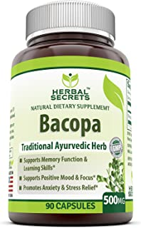 Herbal Secrets Bacopa Powder 500 Mg 90 Capsules (Non-GMO) - Support Memory Function & Learning Skill, Positive Mood & Focu...