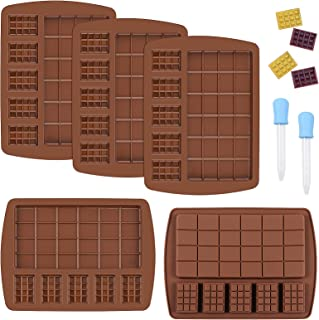 Yotako Chocolate Bar Moulds 5 Pcs Non-Stick Break Apart Silicone Candy Mould Easy Release Mini Chocolate Bar Moulds with 2...
