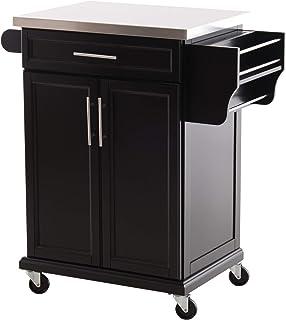 Chariot de service desserte de cuisine à roulettes îlot de cuisine - placard 2 portes, étagères, range couverts et condime...