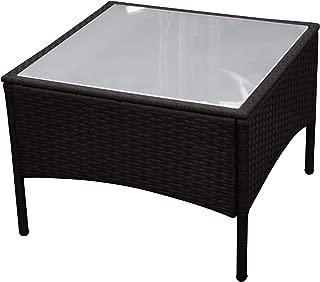 M-XL Gartentisch Glas Tischplatte Poly Rattan Schwarz Tisch Beistelltisch 80cm