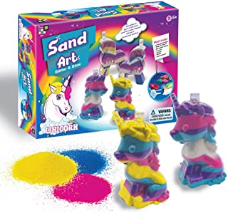 AMAV Unicorn Sand Art Glitter & Glow Kit For Kids, Arts & Crafts Activities. Design Your Own Colorful Unicorns That Glow In The Dark