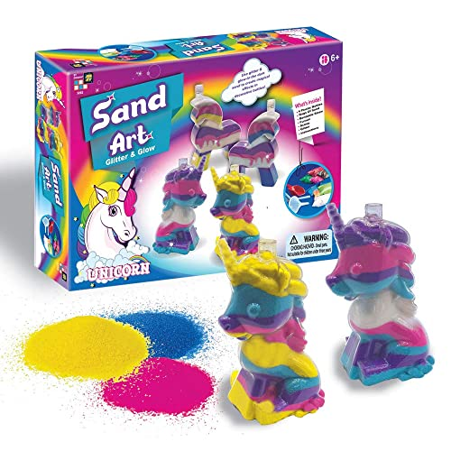 AMAV Unicorn Sand Art Glitter & Glow Kit for Kids, Arts & Crafts Activities.