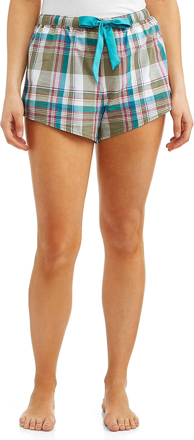 Women's Teal Pink Sage 100% Cotton Madras Plaid Sleep Lounge Shorts with 3 Inch Inseam