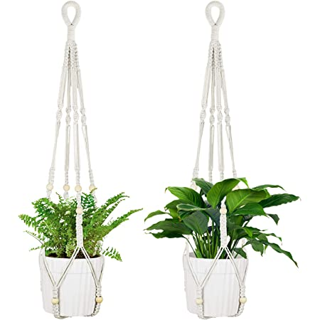 Hanging Plant Holders//Macrame Flower Pot Hanger with Hanging Hooks for Indoor and Outdoor Decor 3pcs GOODGDN Rope Hanging Planter