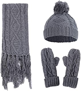 Caistre 3 in 1 Women Warm Thick Cable Knitted Hat Scarf & Gloves Winter Set Soft Slouchy Beanie