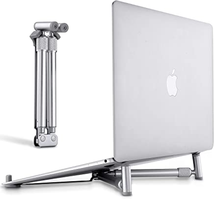Portable Laptop Stand, JUBOR Adjustable Laptop Stand for MacBook Pro, Aluminum Desk Foldable Compact Universal Computer Cooling Stand for 12 13 15 17 inch