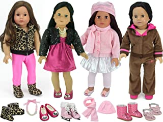 17 Piece Set for 18 Inch Dolls | Mix and Match Doll Items with Doll Sweater, Doll Leggings, Doll Dress, Doll Sweatsuit, Doll Skirt, Vest, Doll Accessories and 5 Pairs of Doll Shoes