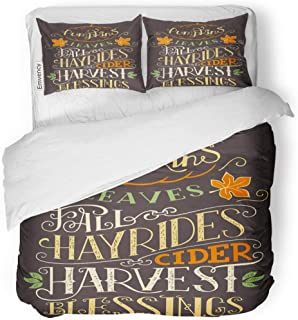 Tarolo Bedding Duvet Cover Set Saying Pumpkins Leaves Fall Hay Rides Cider Harvest Blessings Hand Lettering Sign Holiday Autumn 3 Piece King 104