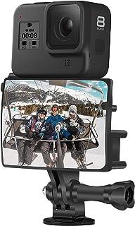 مجموعة مرآة Vlog & Selfie + محول ميكروفون داخلي وحذاء بارد لـ GoPro 8/7/6/5 Session Max و DJI Osmo و غيرها من اكسسوارات كا...