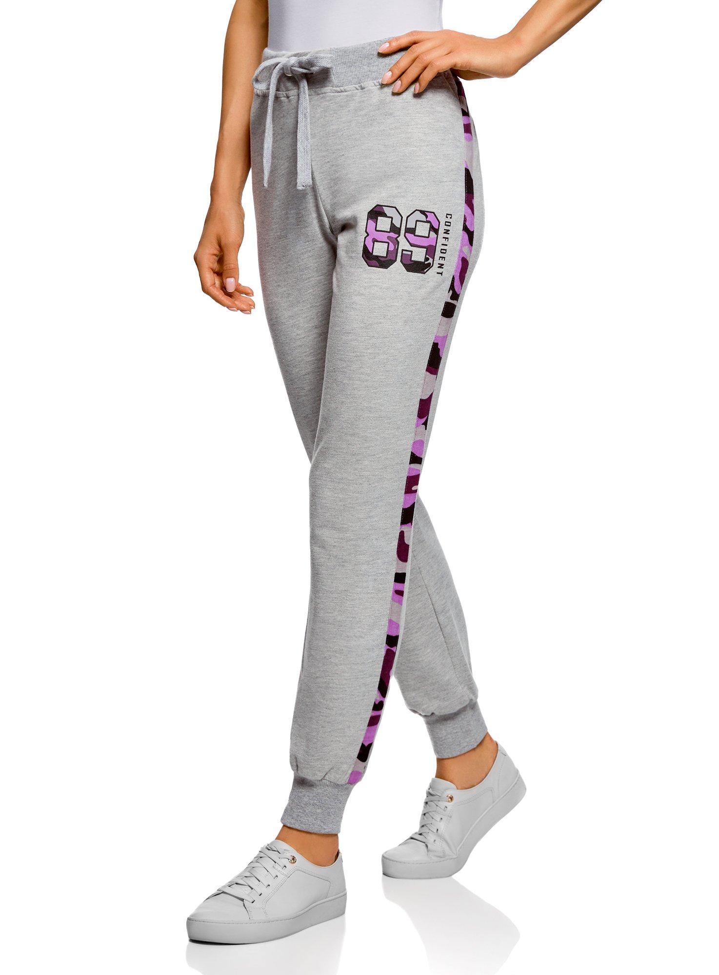 oodji Ultra Femme Pantalon en Maille avec Finition Contrastante
