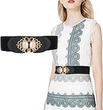 Futurekart Women's PU Leather Wide Embellished Elastic Buckle Waist Belt (Black, Standard)
