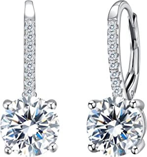 EVER FAITH 925 Sterling Silver Round Cut CZ Prong Setting Gorgeous Bridal Prom Leverback Dangle Earrings