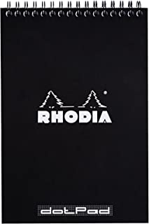 Rhodia Wirebound Notepads - Dots 80 sheets - 6 x 8 1/4 in. - Black cover