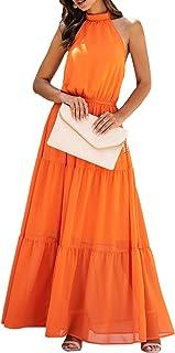 Spec4Y Sommerkleid Lang Damen Strandkleid Sexy Ärmelloses Casual Kleider Vintage Abendkleid Floralen Rundhals Partykleid