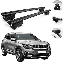 OMAC Automotive Exterior Accessories Roof Rack Crossbars | Aluminum Black Roof Top Cargo Racks | Luggage Ski Kayak Bike Carriers Set 2 Pcs | Fits Kia Seltos 2021