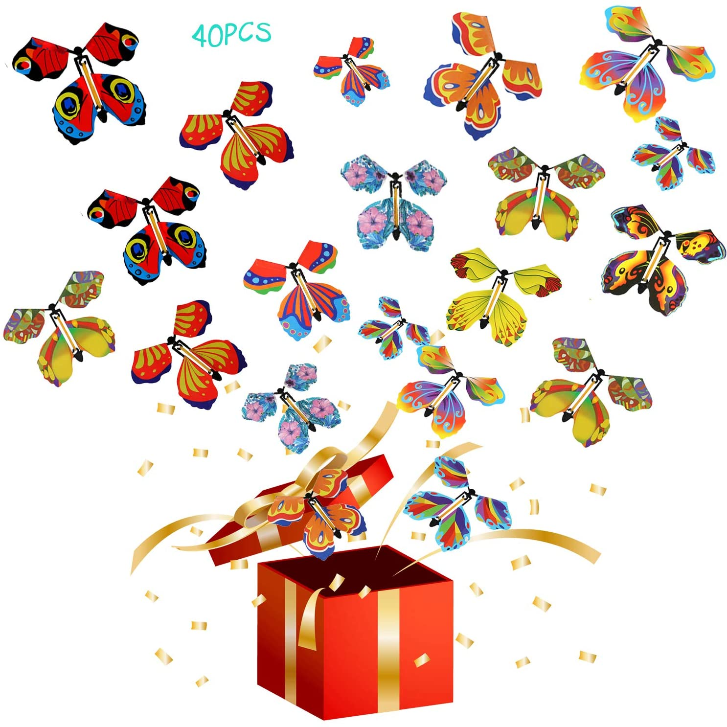 High material 40 PCS Magic Flying Butterfly Seasonal Wrap Introduction Fairy B Toys Wind Rubber up