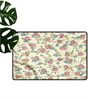 HOMEDD Welcome Doormat,Shabby Chic Sketch Style Blossom,All Season Universal,31