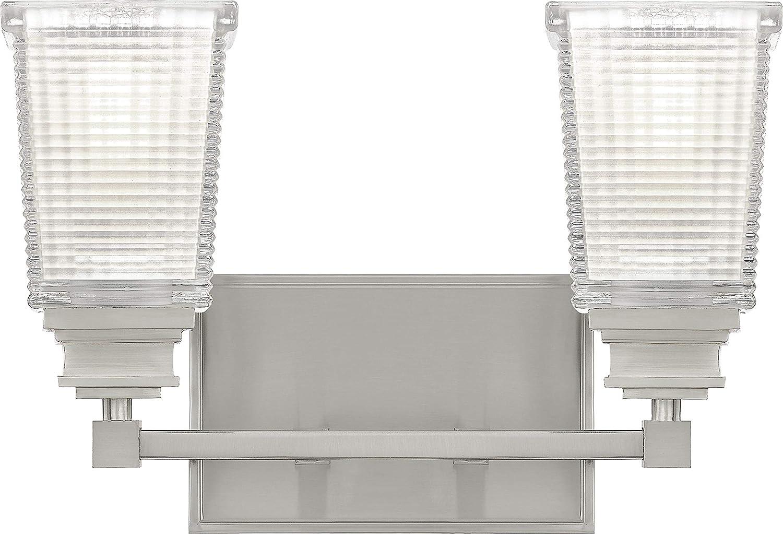 Quoizel ABT8614BN 本日限定 Abbott Glass Vanity 2-Light ファッション通販 Bath 200 Lighting