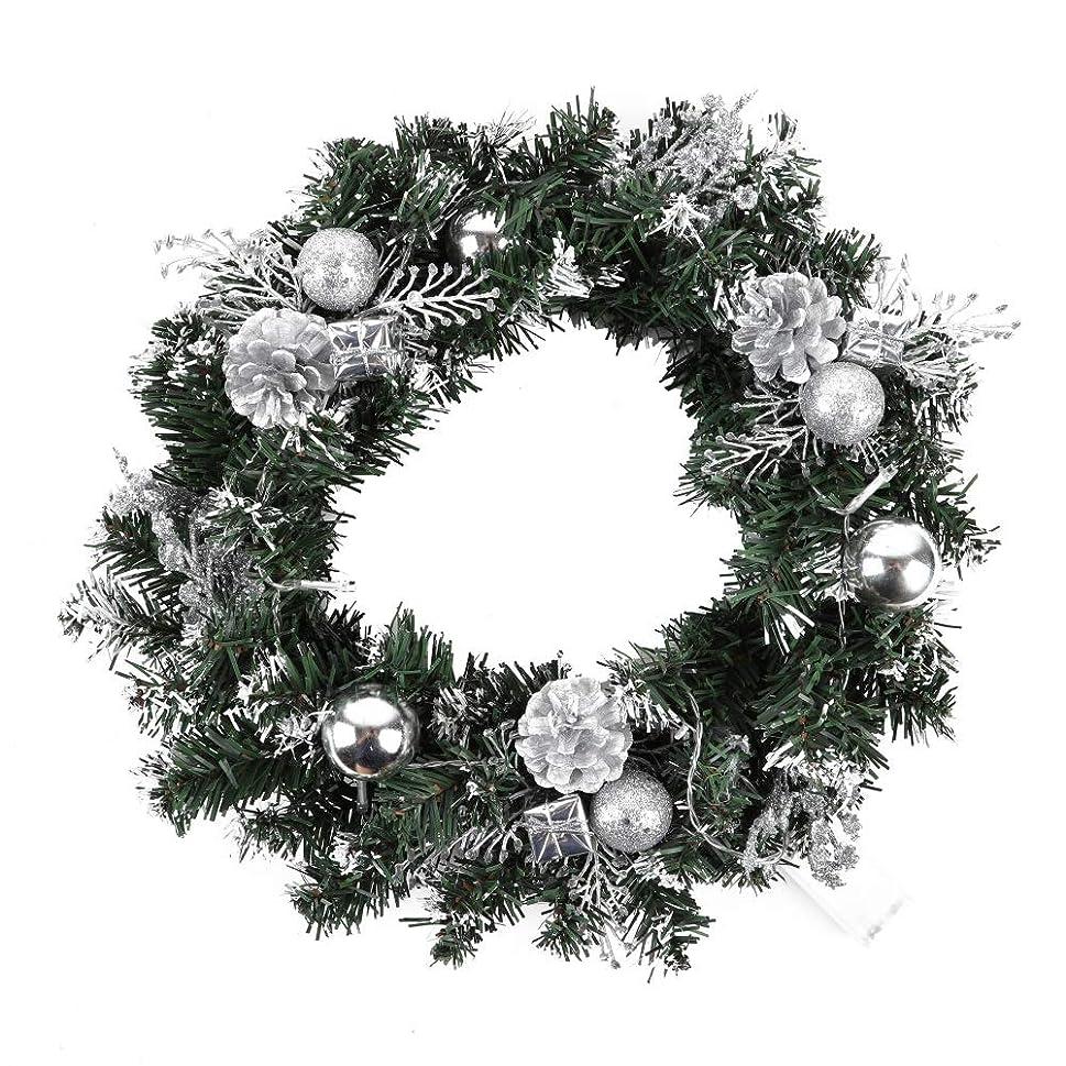 誘うボックス料理をする花輪 クリスマス リース LED ストリング ライト付き 玄関 飾り クリスマス オーナメント リボン ドア 窓 インテリア 宴会 屋内 パーティー お祝い