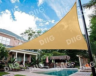 diig Patio Sun Shade Sail Canopy, 13' x 13' x 13' Triangle Shade Cloth Strengthen Outdoor Cover - UV Block Sunshade Fabric Awning Shelter for Backyard Deck Carport Balcony (Sand Color)