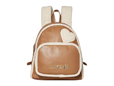 LOVE Moschino Stay Warm Backpack (Fantasy Print Camel/Ivory) Backpack Bags